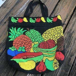Vtg Corde Beaded Bag Drawstring Fruit Apple